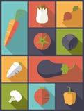 Ilustração saudável do vetor dos ícones dos vegetais ilustração royalty free