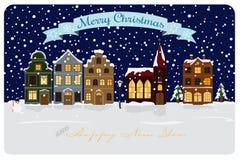 Ilustração sazonal do vetor dos cumprimentos da vila do inverno Imagens de Stock Royalty Free