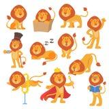 Ilustração selvagem bonito do animal da selva do gato do mamífero do safari do caráter dos desenhos animados felizes da pose do v Imagem de Stock Royalty Free