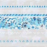 Ilustração sem emenda étnica em tons azuis Fotos de Stock
