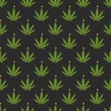Ilustração sem emenda alegre do vetor do teste padrão da folha de Juana Christmas e da marijuana do cannabis do ano novo feliz ilustração stock
