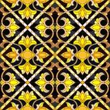 Ilustração sem emenda ao estilo de uma janela de vitral com o ornamento floral dourado do sumário no fundo escuro ilustração do vetor
