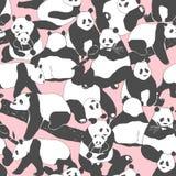 Ilustração sem emenda bonito do teste padrão do urso de panda para a cópia de matéria têxtil, o cartaz, a tampa, as crianças e a  ilustração stock