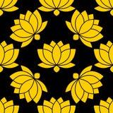 Ilustração sem emenda botânica do vetor do teste padrão da flor de Lotus ilustração do vetor
