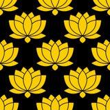 Ilustração sem emenda botânica do vetor do teste padrão da flor de Lotus ilustração stock