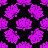 Ilustração sem emenda botânica do vetor do teste padrão da flor de Lotus ilustração royalty free