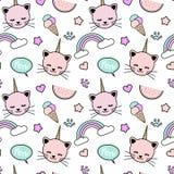 Ilustração sem emenda colorida bonito com gatos do unicórnio, arco-íris do fundo do teste padrão, bolha do discurso, gelado, estr ilustração do vetor