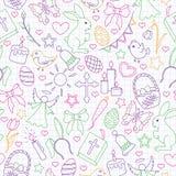 Ilustração sem emenda com ícones simples do contorno em um tema o feriado da Páscoa, ícones coloridos do esboço no escrita-livro  ilustração royalty free