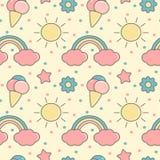 A ilustração sem emenda com arcos-íris, sol do fundo do teste padrão do vetor dos desenhos animados coloridos bonitos, nuvens, ge ilustração stock