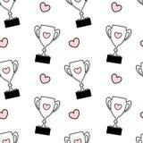 Ilustração sem emenda cor-de-rosa branca preta bonito do fundo do teste padrão com o troféu bonito dos desenhos animados com cora Imagem de Stock Royalty Free