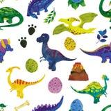 Ilustração sem emenda da aquarela dos dinossauros ilustração do vetor