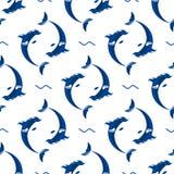 Ilustração sem emenda do animal dos animais selvagens da água do mar do mamífero do teste padrão do oceano marinho aquático bonit ilustração royalty free