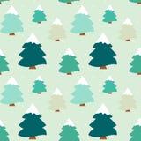 Ilustração sem emenda do fundo do teste padrão da árvore colorida bonito do inverno Fotos de Stock Royalty Free