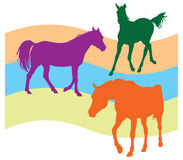 Ilustração sem emenda do teste padrão de três cavalos Fotografia de Stock Royalty Free