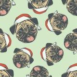Ilustração sem emenda do teste padrão do vetor do cão do Pug do Natal Fotografia de Stock Royalty Free