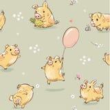 Ilustração sem emenda do teste padrão do porco feliz engraçado Cópia bonito com a mosca leitão do caráter no balão, abacaxi da po ilustração do vetor