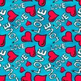 Ilustração sem emenda do vetor do fundo de Valentine Day dos grafittis da textura do grunge Fotografia de Stock Royalty Free