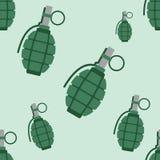 Ilustração sem emenda do vetor do teste padrão das armas da explosão da bomba da granada de mão Imagem de Stock Royalty Free