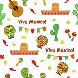 Ilustração sem emenda do vetor do teste padrão do feriado de Cinco de Mayo Mexican Imagens de Stock Royalty Free