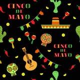 Ilustração sem emenda do vetor do teste padrão do feriado de Cinco de Mayo Mexican Imagens de Stock