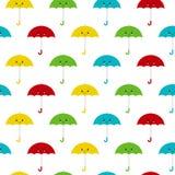 Ilustração sem emenda do vetor do teste padrão do fundo dos guarda-chuvas bonitos coloridos Estilo de Kawaii ilustração royalty free