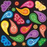 Ilustração sem emenda floral e da borboleta de Paisley do teste padrão do vetor Imagens de Stock Royalty Free