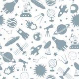 A ilustração sem emenda no tema do espaço e da viagem espacial, cinza mostra em silhueta ícones em um fundo branco Foto de Stock