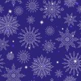 Ilustração sem emenda no tema do inverno e dos feriados de inverno, o contorno do floco de neve e sters, flocos de neve brancos e ilustração royalty free