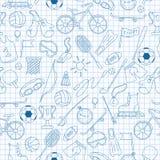 A ilustração sem emenda no tema do verão ostenta, ícones azuis simples do contorno na folha limpa do escrita-livro em uma gaiola ilustração royalty free
