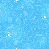 A ilustração sem emenda no tema do verão ostenta, esboço brilhante dos ícones simples em um fundo azul ilustração do vetor