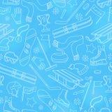 Ilustração sem emenda no tema dos esportes de inverno, ícones simples do contorno no fundo da bola, esboço branco no fundo azul Foto de Stock Royalty Free