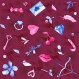 Ilustração sem emenda tirada mão com amor, flores da aquarela, anel, seta, letra, envelope, candys, chave, cereja, corações, feat ilustração royalty free