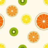 Ilustração simples do vetor de citrinos da fatia - quivi, limão, fotografia de stock royalty free