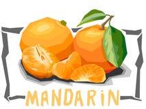 Ilustração simples do vetor de tangerinas do fruto Fotos de Stock Royalty Free