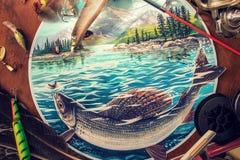 Ilustração sobre a pesca ilustração royalty free