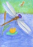 Ilustração sobre a vida dos insetos na lagoa Lib?lula e mosquito ilustração royalty free