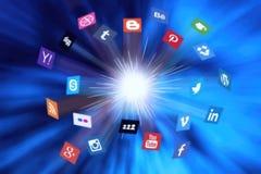 A ilustração social de Big Bang da rede dos meios Fotos de Stock Royalty Free