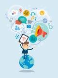 Ilustração social do conceito dos meios Imagens de Stock