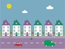 Ilustração suburbana do vetor da rua Fotos de Stock Royalty Free