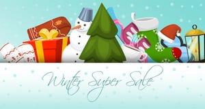 Ilustração super do vetor da bandeira da venda do inverno Paisagem da natureza com árvore de Natal, bonecos de neve, pequeno tren ilustração stock