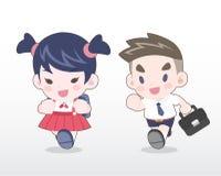Ilustração tailandesa nova dos estudantes do estilo bonito ilustração stock