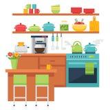 Ilustração temático e ícones da cozinha Imagens de Stock