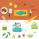 Ilustração temático e ícones da cozinha Imagem de Stock