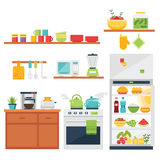 Ilustração temático e ícones da cozinha Imagem de Stock Royalty Free