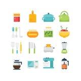Ilustração temático e ícones da cozinha Imagens de Stock Royalty Free