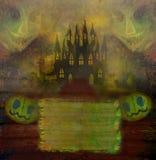 Ilustração terrível de Dia das Bruxas com um fantasma na frente de uma assombração Imagens de Stock
