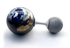 Ilustração a terra e a lua no fundo branco Fotos de Stock