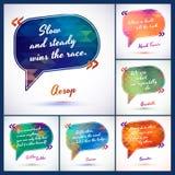 A ilustração tipográfica do fundo com citações embala a ideia inteligente do sábio, frase da motivação ilustração stock