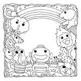 Ilustração tirada do desenho do vetor do grupo animal do monstro mão engraçada Foto de Stock