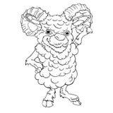 Ilustração tirada do vetor da cabra dos carneiros mão masculina ilustração stock
